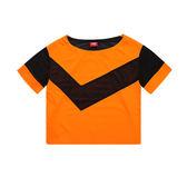 PONY 橘 黑網狀 洞洞 Logo 短版T 透氣 純棉材質 舒適吸汗基本LOGO女 82W2AT60OG -SP-
