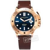 GIORGIO FEDON 1919 / GFCL005 /  機械錶 自動上鍊 藍寶石水晶玻璃 真皮手錶 藍x玫瑰金框x咖啡 45mm