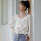 褶皺設計喇叭袖長袖雪紡衫女秋裝2021款簡約氣質小清新收腰上衣潮 韓國時尚週