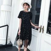 休閒度假連身裙洋裝XL-5XL中大尺碼26223新款圓領性 感顯瘦蕾絲星星圖案長裙A字裙兩件套 胖胖唯依