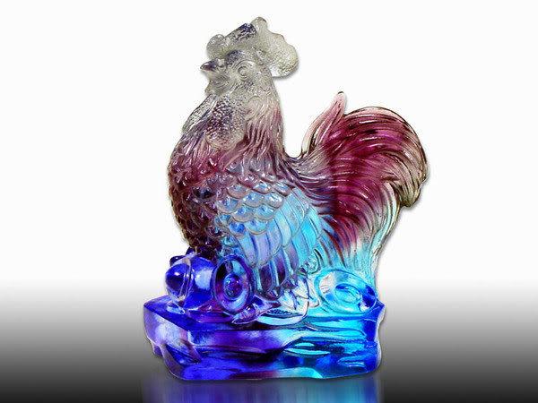 鹿港窯-居家開運商品-琉璃S十二生肖文鎮【雞】附精美包裝◆免運費送到家