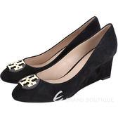 TORY BURCH Luna Suede 麂皮楔型跟鞋(黑色) 1630237-01