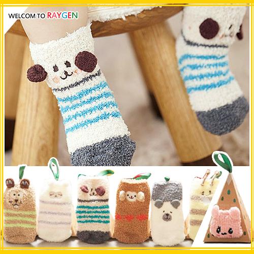 日系~立體卡通動物刺繡珊瑚絨寶寶防滑襪