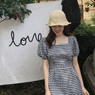 【GZ32】韓版新款方領泡泡袖高腰顯瘦短袖連身裙洋裝