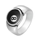 《 QBOX 》FASHION 飾品【RHF991】精緻個性紳士8號球設計鈦鋼戒指/戒環
