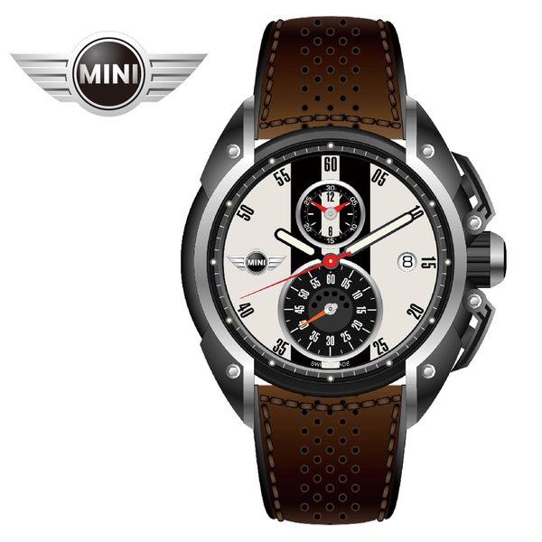 [萬年鐘錶】MINI Swiss Watches英國風格 簡約白黑二眼分數數字三點日期窗 深棕皮帶錶 45mm MINI-10