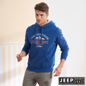 【JEEP】經典美式長袖刷毛連帽TEE (藍色)