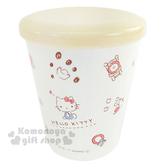 〔小禮堂〕Hello Kitty 日製塑膠小水杯《白.米黃蓋.坐姿.家具.蘋果.多圖.260ml》附蓋防灰塵 4973307-38253