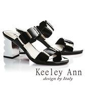 ★2018春夏★Keeley Ann摩登時尚~亮澤方塊波浪造型真皮粗高跟拖鞋(黑色) -Ann系列
