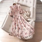 洋裝-喇叭袖清新素雅花朵時尚連身裙73sz48【時尚巴黎】