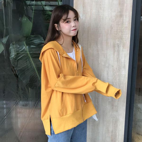 韓版 連帽拉鍊外套-中大尺碼 獨具衣格