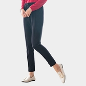 休閒褲--保暖時尚寬版鬆緊帶身側雙口袋素面毛呢哈倫褲(黑XL-5L)-P138眼圈熊中大尺碼◎