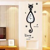 歐式創意掛鐘 創意掛鐘客廳現代簡約鐘錶時尚卡通貓咪掛錶臥室靜音歐式時鐘裝飾  jy