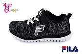 FILA 運動鞋 男童 中大童 記憶鞋墊 針織 慢跑鞋 O7640#黑色◆OSOME奧森童鞋