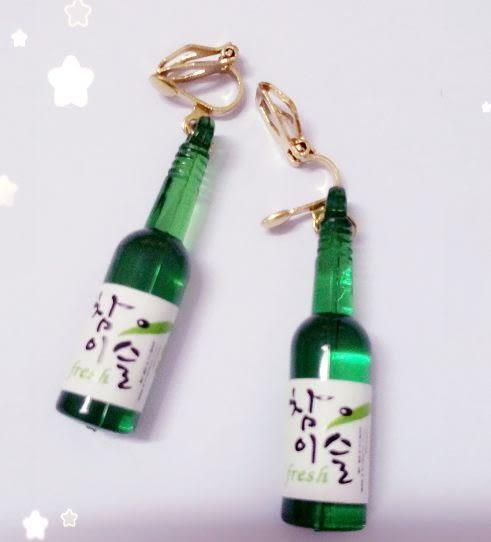 Star 日韓系列 -韓國酒瓶耳勾/耳夾 - D116