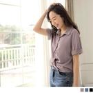 《AB14886-》純色短版不易皺扭結反褶短袖襯衫上衣 OB嚴選