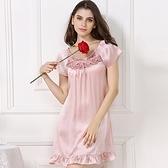 睡衣-真絲裙裝短袖優雅蕾絲花邊圓領女居家服2色73nq52【時尚巴黎】
