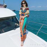 海邊度假沙灘裙長裙夏V領顯瘦蝙蝠俠洋裝 水晶鞋坊