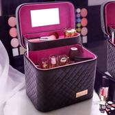 大容量化妝包多功能小號方袋便攜手提多層化妝品收納盒簡約箱 全館免運