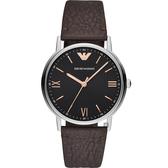 Emporio Armani 亞曼尼紳士手錶-黑x咖啡/41mm AR11153