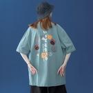 短袖T恤 T桖女2021年新款日系複古小衆設計t恤寬松大碼短袖可鹽可甜上衣夏