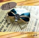 【YT店髮飾】金綠典雅風情緞帶蝴蝶結髮夾/髮飾/頭飾/彈簧夾(G019)