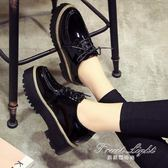 鬆糕單鞋原宿風小皮鞋學生單鞋秋冬英倫風女鞋厚底鬆糕鞋百搭春季 果果輕時尚