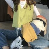 針織馬甲女-新款韓版寬鬆V領短款無袖坎肩馬夾外穿針織網紅馬甲背心女秋 多麗絲