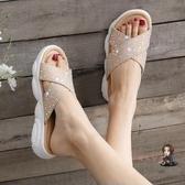 拖鞋 女拖鞋女外穿新款夏潮網紅超火水鑽外出沙發厚底小熊涼拖鞋  3色 交換禮物