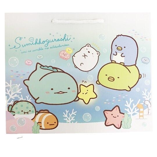 小禮堂 角落生物 橫式方形手提紙袋 禮物紙袋 包裝紙袋 禮品袋 (藍 海底) 4714551-88303
