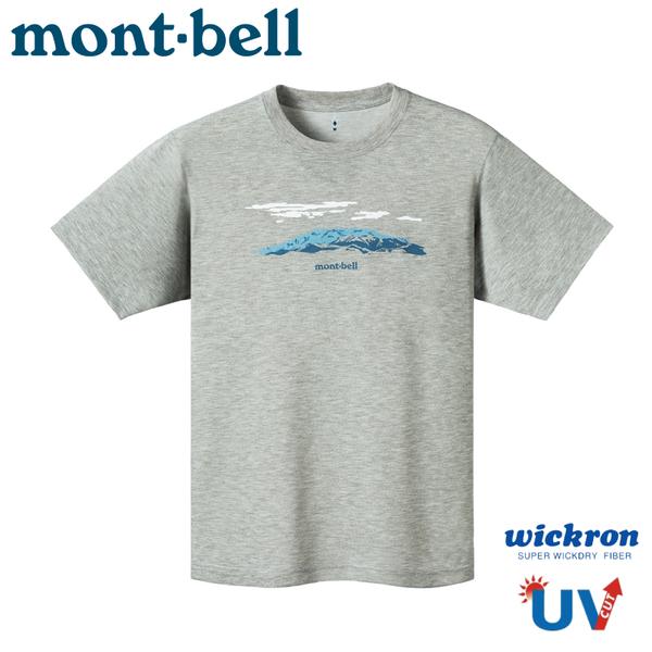 【Mont-Bell 日本 Wickron T恤 山並 短袖排T《炭灰》】1114411/排汗衣/抗UV/快乾/防曬/慢跑