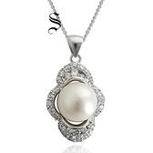 項鍊 925純銀 珍珠吊墜-鑲鑽花朵生日情人節禮物女飾品73dh22【時尚巴黎】