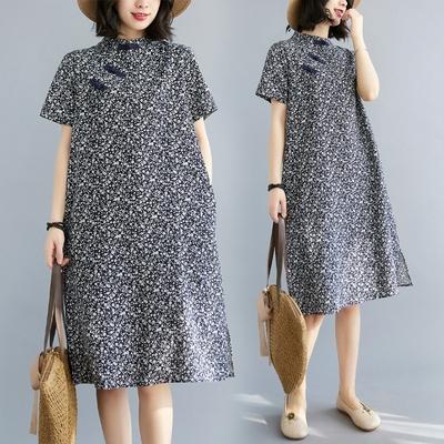 胖妹妹大碼洋裝連身裙~裝復古文藝中式改良旗袍寬松中長款連身裙女MB116衣時尚