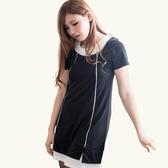 洋裝--簡約素雅層次感裝飾配色線衣領下擺拼接設計洋裝(黑.紫XL-5L)-D347眼圈熊中大尺碼◎