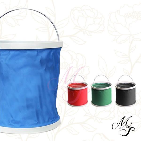 【Miss Sugar】【隨機出貨】摺疊便攜款水桶 戶外 露營 洗車 汽車 伸縮桶 11L