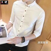 降價最後兩天-白襯衫男士短袖春季修身正韓潮流帥氣學生青年五分袖襯衣中袖寸衫M-5XL4色