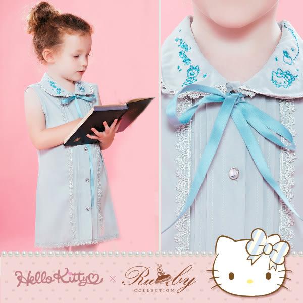 上衣 Hello Kitty x Ruby 聯名款-綁帶刺繡雪紡襯衫無袖上衣(童)-Ruby s 露比午茶