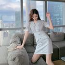 超殺29折 韓國風時尚氣質設計感娃娃領亮片排扣短袖洋裝