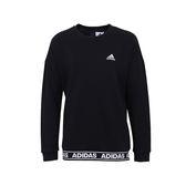 adidas GFX Crew 女 黑 白 滾邊字母衛衣 大學Tee 長袖衛衣 T桖 毛圈棉 Fleece CF3951