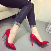 高跟鞋 新款藍色性感尖頭鞋夜店裸色大碼細跟高跟鞋紅色婚鞋黑色工作單鞋【全館免運】