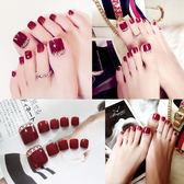 紅色美甲成品假腳趾甲貼片可拆卸指甲新娘美甲成品鑲鑽可穿戴美甲 至簡元素