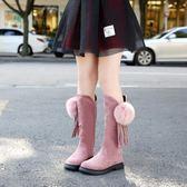 女童靴子新款秋冬季長靴加絨雪地靴中大童小公主兒童鞋高筒靴