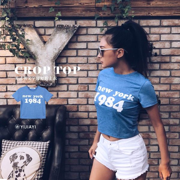 【YIJIAYI】✔(現貨) 美式 英文 字母 紐約 短版 上衣 T恤 (0473)
