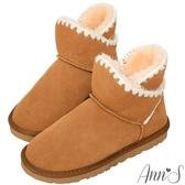 Ann'S可愛毛線-側V編織滾邊短筒真皮雪靴-棕