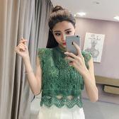 中大尺碼 蕾絲罩衫2018新款韓版時尚女裝寬松鏤空蕾絲花邊小衫短款上衣 ys2506 『毛菇小象』