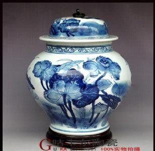 景德鎮陶瓷器 花瓶 青花瓷 荷葉壇