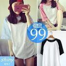 【D866】shiny藍格子-輕尚恬氛.百搭撞色拼接圓領短袖T恤
