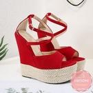 楔型涼鞋 絨質魚口交叉度假風 厚底涼鞋*KWOOMI-A51