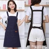 牛仔圍裙 可調節牛仔帆布圍裙職業男女工作裝護衣背帶式耐磨耐臟布藝圍腰【618 購物】