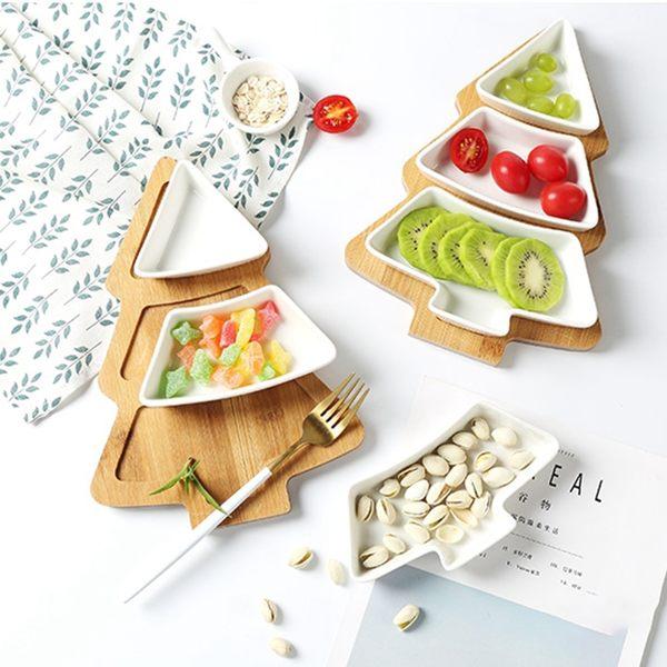 北歐聖誕樹造型餐盤水果盤 零食拼盤小碟子 甜點盤 陶瓷竹木【H81037】
